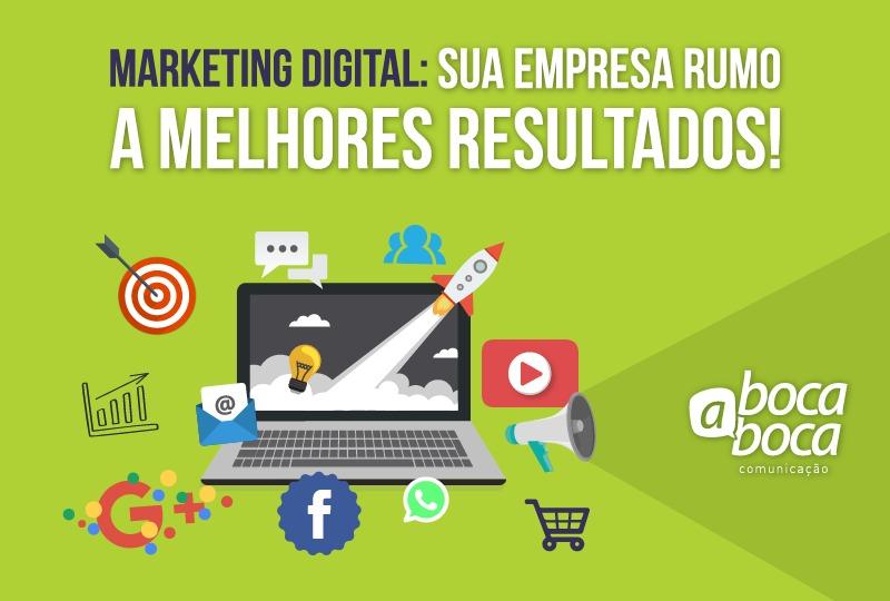 marketing digital computador com ícones da área do marketing